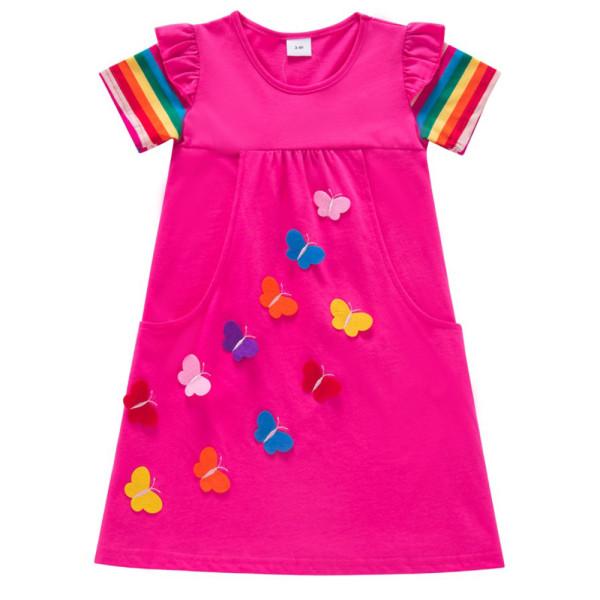 Girls 'Butterfly Broderad Rainbow Princess Födelsedagsklänning Rose Red 3-4 Years