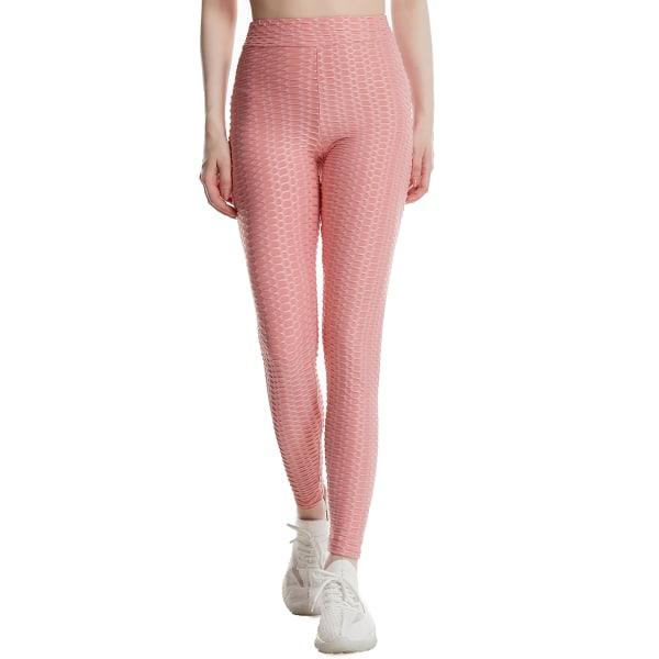 Kvinnor avslappnade byxor super stretch mager joggebyxa yoga byxor Pink L
