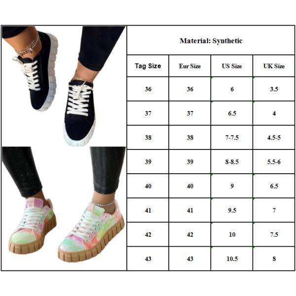 Kvinnors snörning sport mode platta skor casual enkla skor Black 36