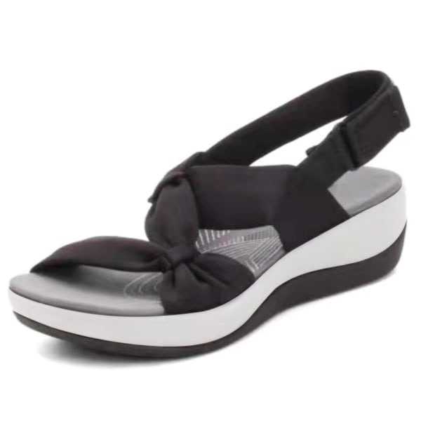 Kvinnors sommar Trifle Cross Twist Sandals Vacation Beach Sandals Black 40