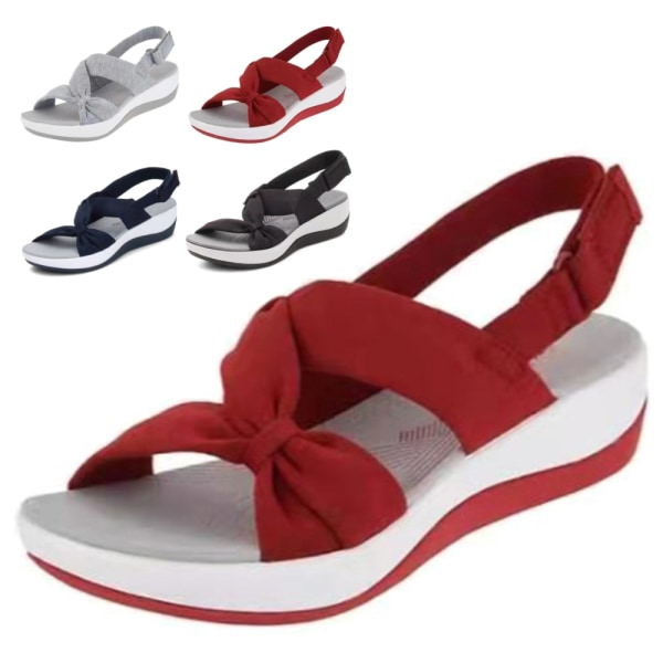 Kvinnors sommar Trifle Cross Twist Sandals Vacation Beach Sandals Grey 43