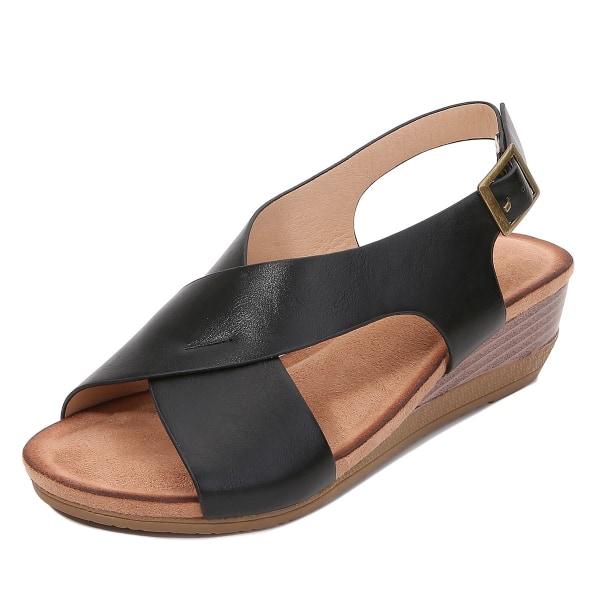 Kvinnors sommarlut med romerska skor avslappnade sandaler enkel sandal Black 41