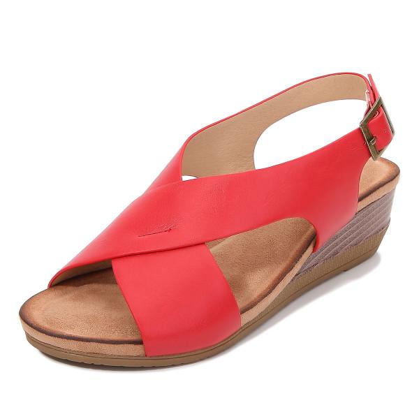 Kvinnors sommarlut med romerska skor avslappnade sandaler enkel sandal Red 39