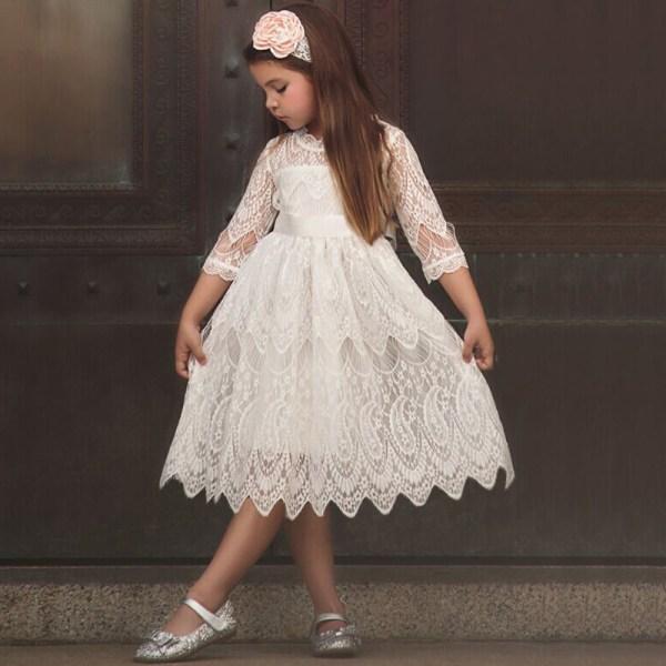 Spets prinsessa klänning _ födelsedagsfest temperament tjej klänning _ S white 130cm