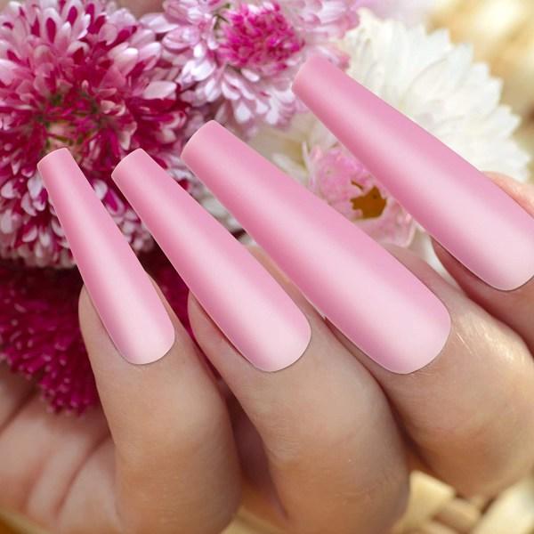 smink _ 100 stycken långa balett falska naglar _ enfärgad med pink
