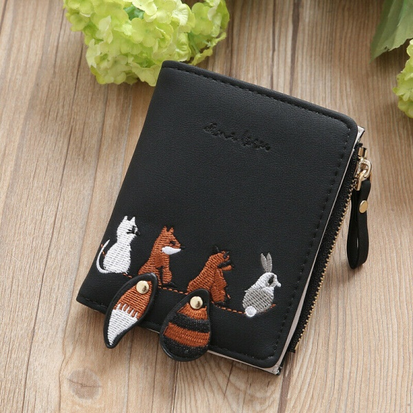plånbok, Kvinnors söta djurmönster kort blixtlåsplånbok Dark Green