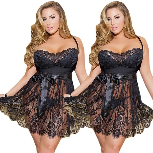 Kvinnors sexiga underkläder ögonfransar spets hängslen kjol spets nattklänning black 3XL