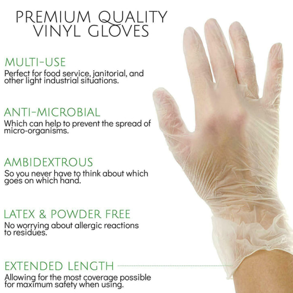 100pcs Vinyl Gloves Medium Transparent Disposable Gloves S
