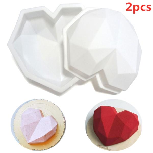 2: a Bakverktyg Silikon Hjärtform Mögel Diamond Cake Decor 2PCS