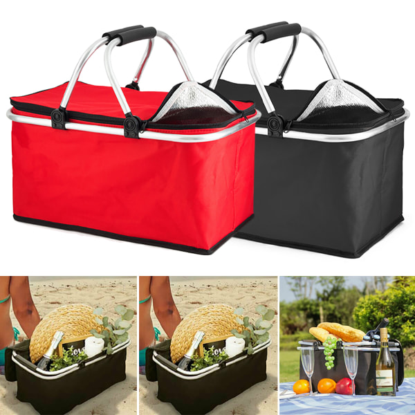 30L Extra Large Foldable Cooler Bag Picnic Outdoor Camping Lunch red