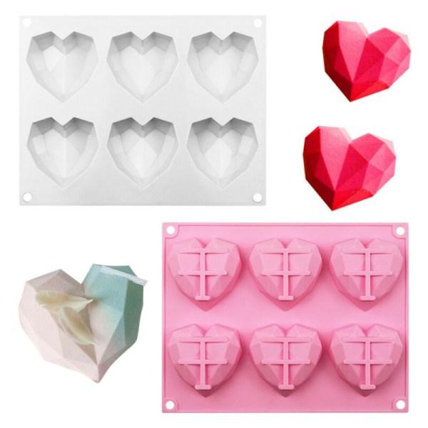 6-kavitets 3D silikon hjärta fondant mögel tårta choklad bakning White-1pcs