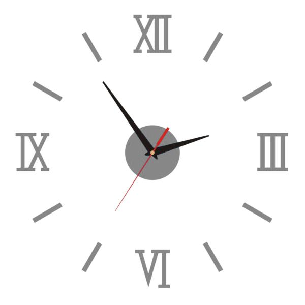 Acrylic Frameless Clock Roman Long Strip Wall Clock Home Decor Silver