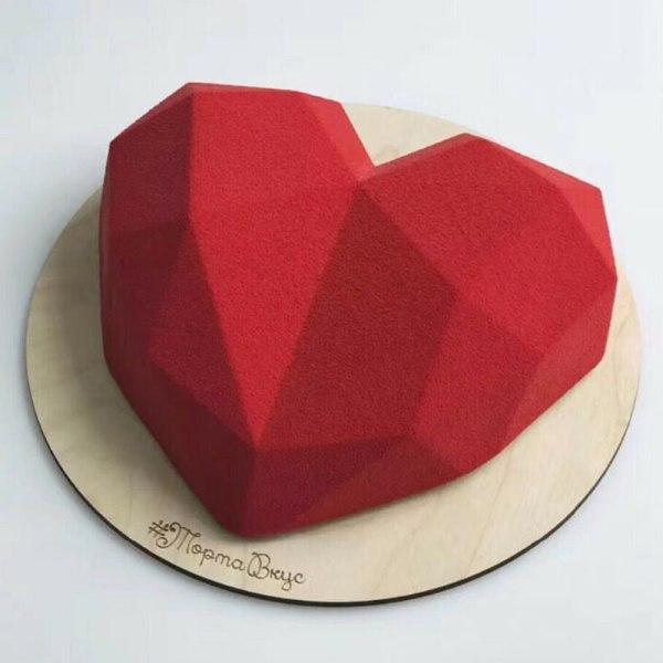 3: e bakverktyg silikon hjärta formar mögel diamant kaka dekor 3PCS