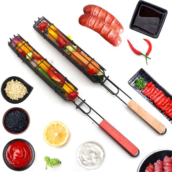 Grillkorg Grill BBQ Net Kebab Stick Vegetable Holder Tools Wooden-1PC