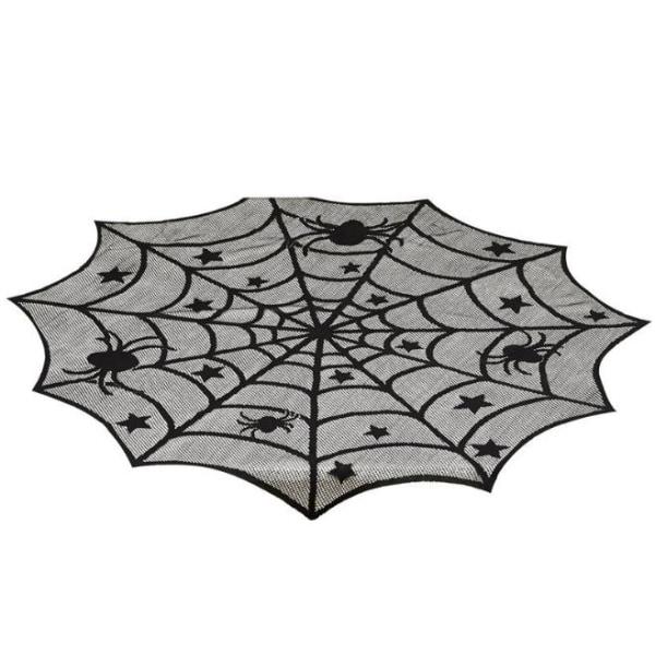 Black Cobweb Spider Web Table Mantle Cloth Halloween Party Decor Aspics-1