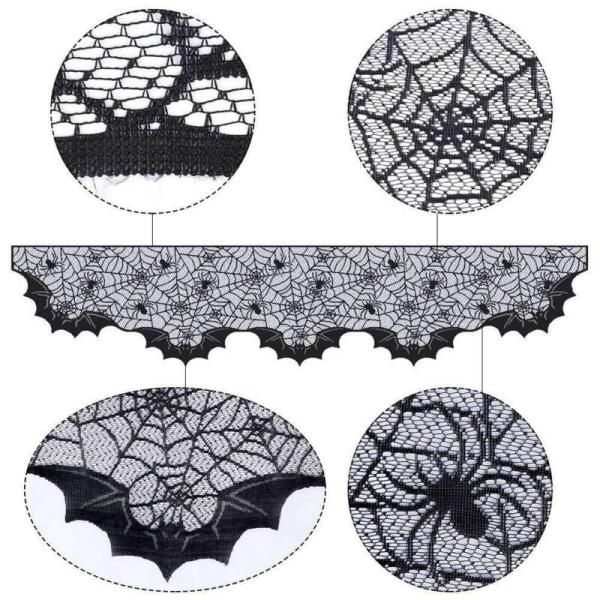 Black Cobweb Spider Web Table Mantle Cloth Halloween Party Decor Aspics-3