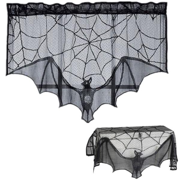 Black Cobweb Spider Web Table Mantle Cloth Halloween Party Decor Aspics-5