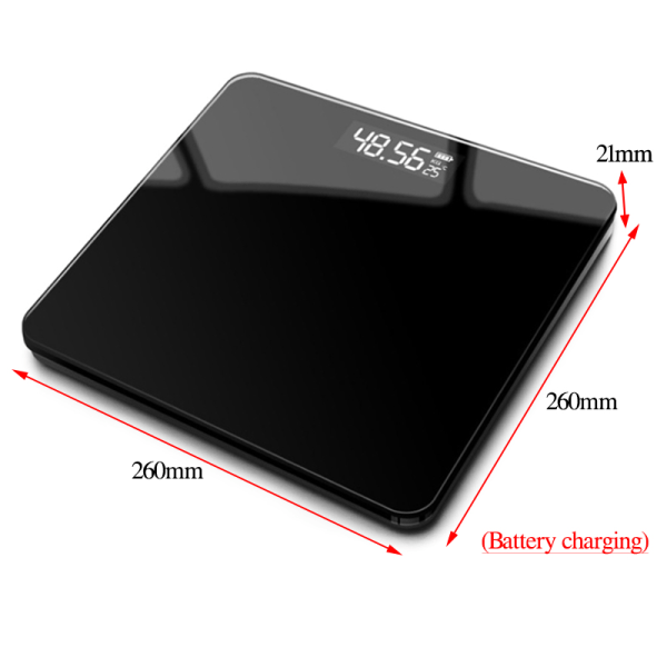 Digital Bathroom Scale Body Subjects Weighing Scale Black 26*26cm