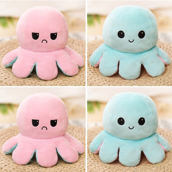 Double-sided Flip Reversible Octopus Kid Plush Toys Cute Gift Pink-Light Blue