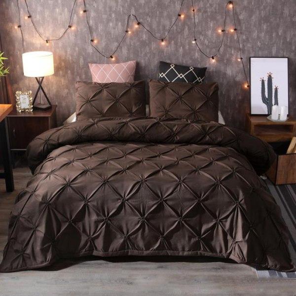 EU KING 3 pcs of Bedding Set Bedclothes Set Coffee US FULL