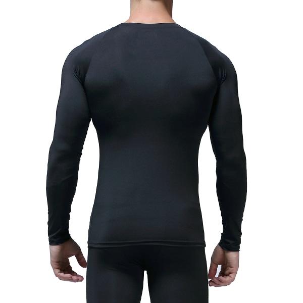 Långärmad T-shirt för män Snabbtorkande toppsporter som kör Slim Fit