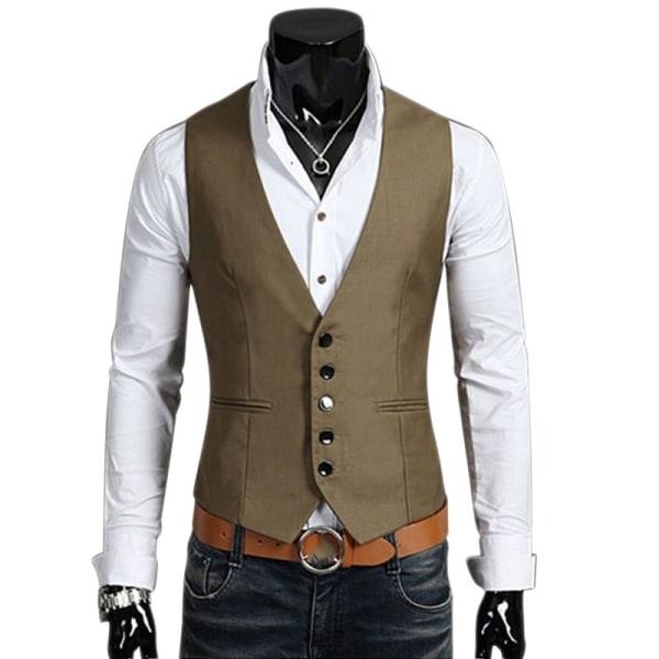 Mens Button Up Sleeveless Waistcoats Slim Fit brown 3XL