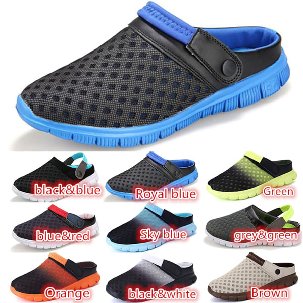 Mens Summer Casual Slippers Closed Toe Beach sky blue 43