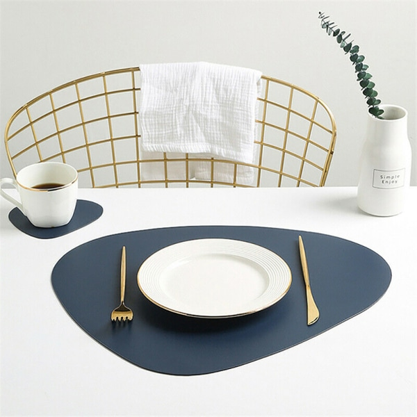 Placemat Table Mat Tableware Pad PU Leather Waterproof Heat Blue