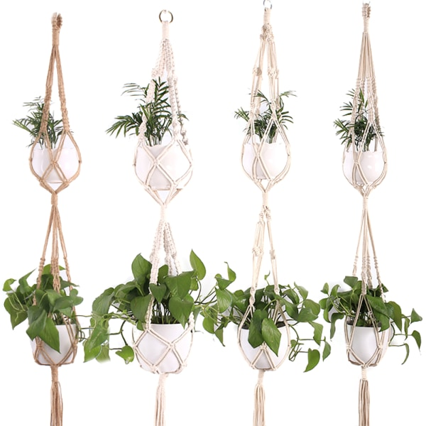 Växtblomkrukahållare hängande Jute Rope Wall Art Double Layer