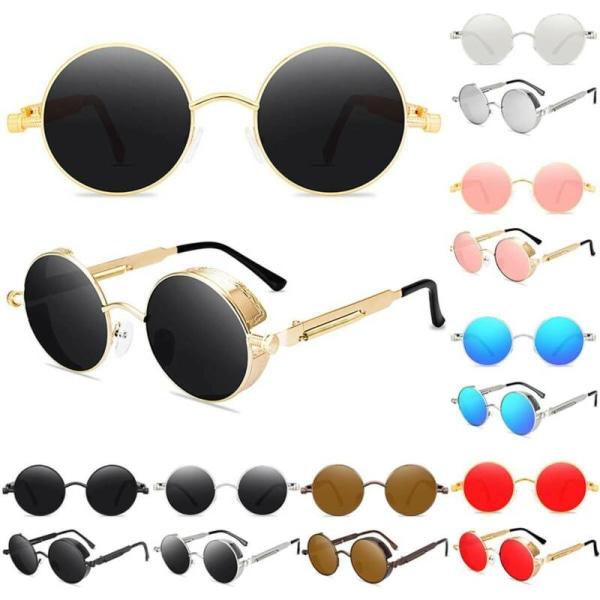 Runda linser Solglasögon herrmodecirkel Hippieglasögon Gold Frame Pink Lenses 1pair