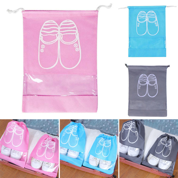 Shoes Storage Bag Portable Dust Proof Bags Pouch Organizers pink 43.5*32cm