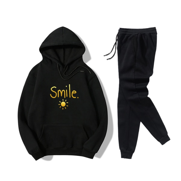 Smile Sun Letter Printed Women's Leisure Sport Hoodies Set Black 2XL
