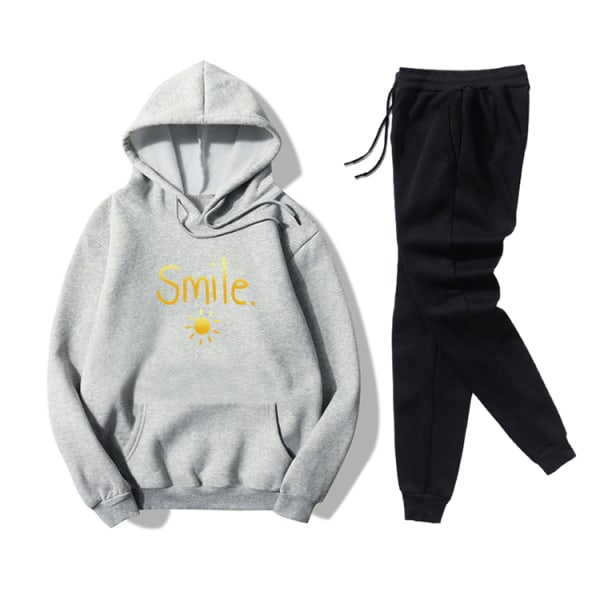 Smile Sun Letter Printed Women's Leisure Sport Hoodies Set Grey M