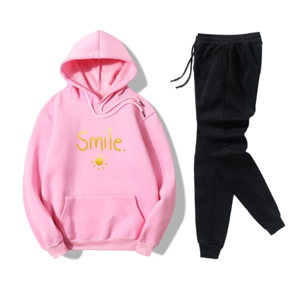 Smile Sun Letter Printed Women's Leisure Sport Hoodies Set Pink M