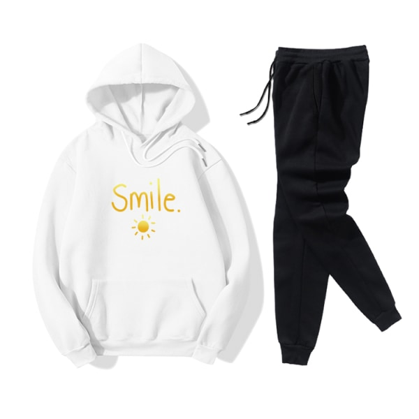 Smile Sun Letter Printed Women's Leisure Sport Hoodies Set White L