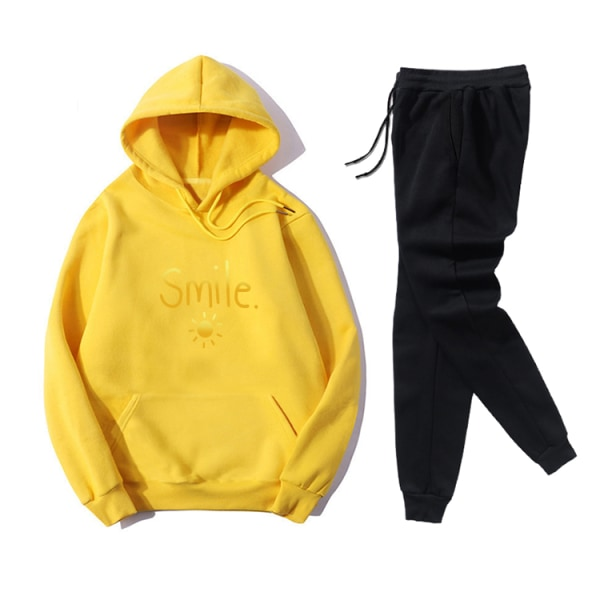 Smile Sun Letter Printed Women's Leisure Sport Hoodies Set Yellow M