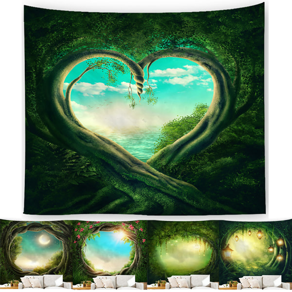 Tapestry Art Print Forest Fairy Wall Hanging Home Decoration D 200*150CM