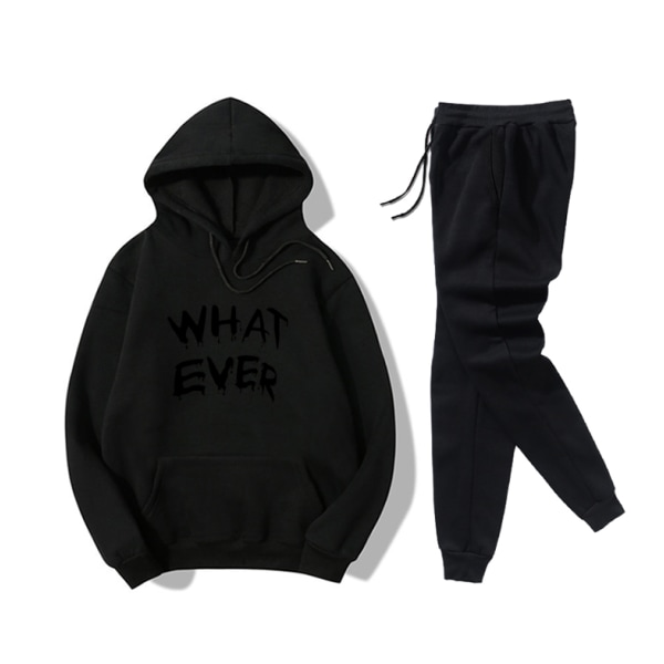 """WHAT EVER"" Women's Leisure Sport Hoodies Set Black 3XL"