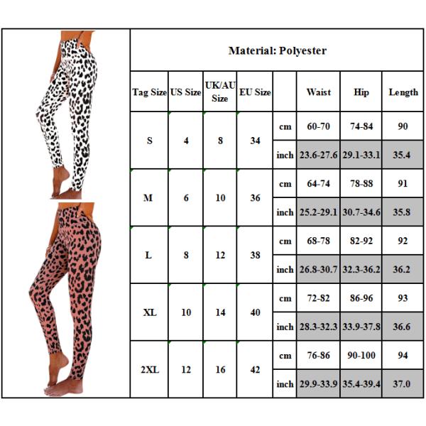 Kvinnor Leopard High Waisted Leggings Fitness Sports Train Byxor Pink M