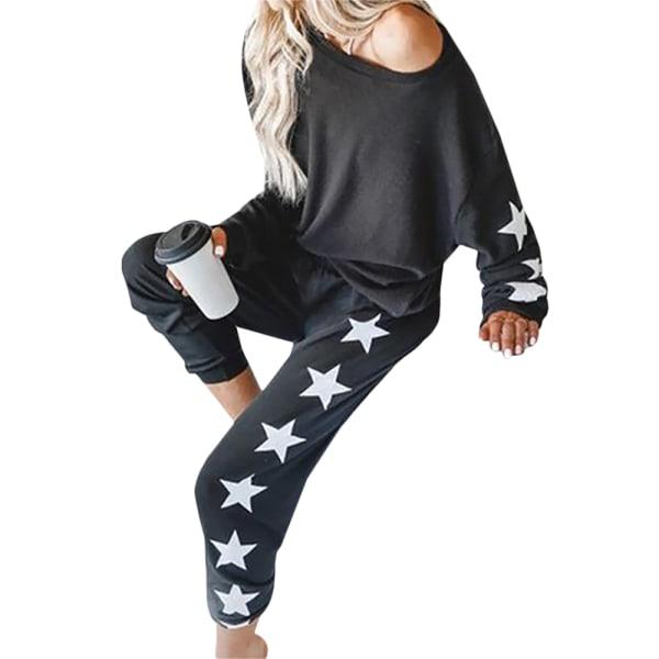 Kvinnor Tryckta Långärmade Toppar Byxor Byxor Casual Nattkläder Black XL