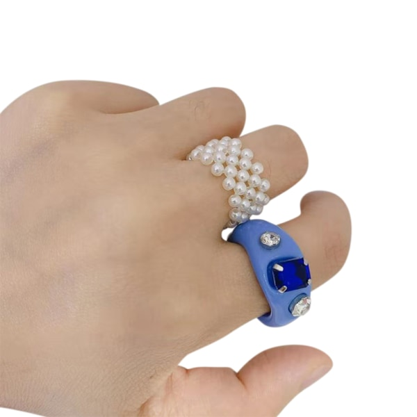 Women Retro Resin Ring Acrylic Ring Party Jewelry Ring Blue