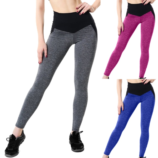 Dam Leggings Casual Yoga Gym Sportbyxor Fitnessbyxor Blue XL
