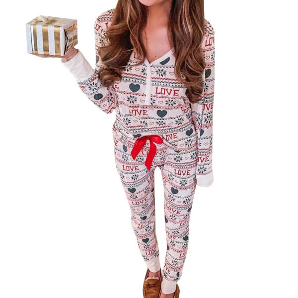 Kvinnors pyjamas Set Långärmad V-ringad toppbyxor Loungewear Heart L