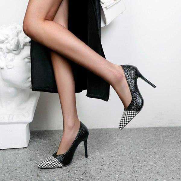kvinnors högklackade pumpar spetsiga stilettos sexig rutig klänning vi