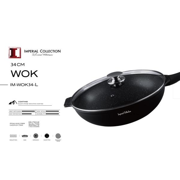 34 cm marmorbelagd wok med lock och avtagbart handtag