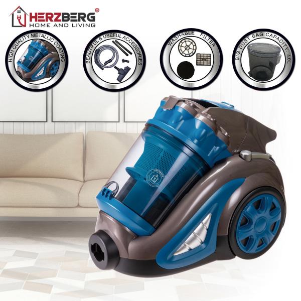 Herzberg HG-8047BLU: Dammsugare bagless