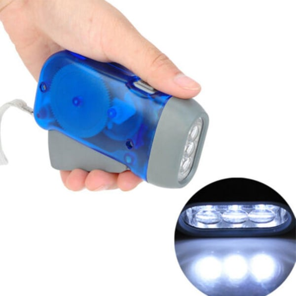 Handpressande ficklampa 3 LED-vev Power Dynamo Light Torch Ni