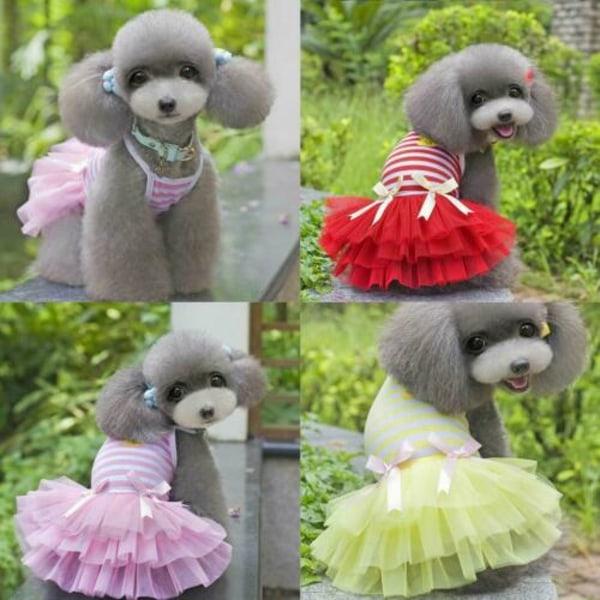 Pet Dog Bow Dress Summer Lace Stripes Vest Kjol Kläder