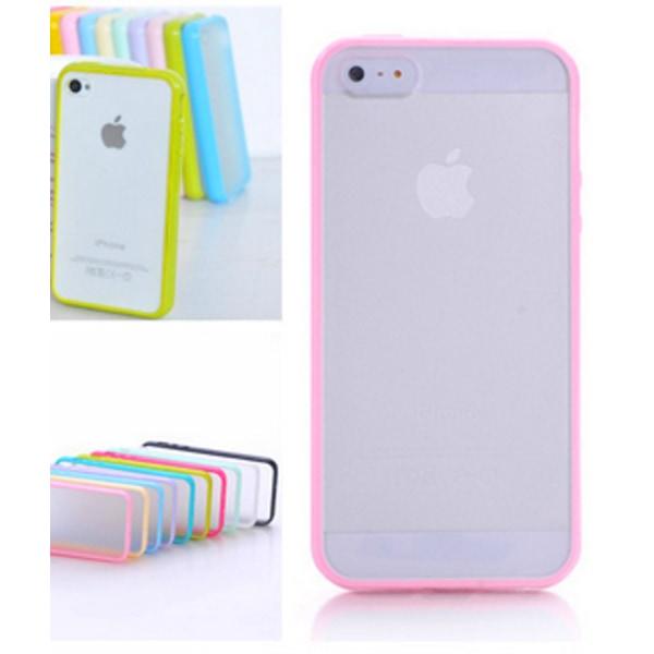 Frostat Transparent skal med färgad ram iPhone 5/5S/SE - fler fä Gul