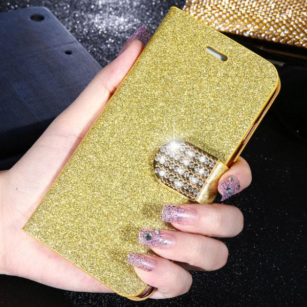 Glitter design Plånboksfodral till Samsung S6 Edge + (PLUS) - fl Lila